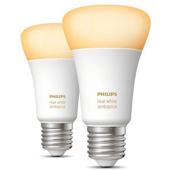 LED-lampe Philips Hue White Ambiance 8,5 W, E27, 2-pakning