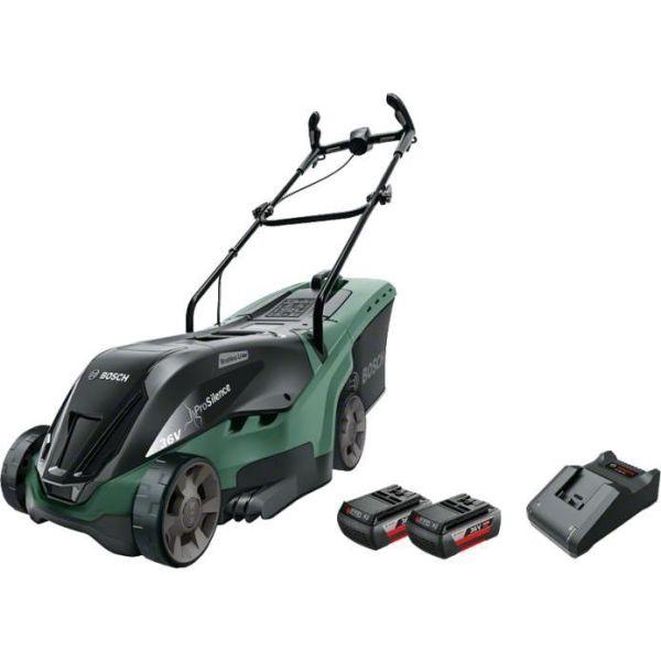 Gräsklippare Bosch DIY Universal Rotak 36-560 med 2 st 2,0Ah batterier och laddare