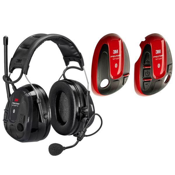 Hörselskydd 3M Peltor WS Alert XP med röda skal, Bluetooth med hjässbygel