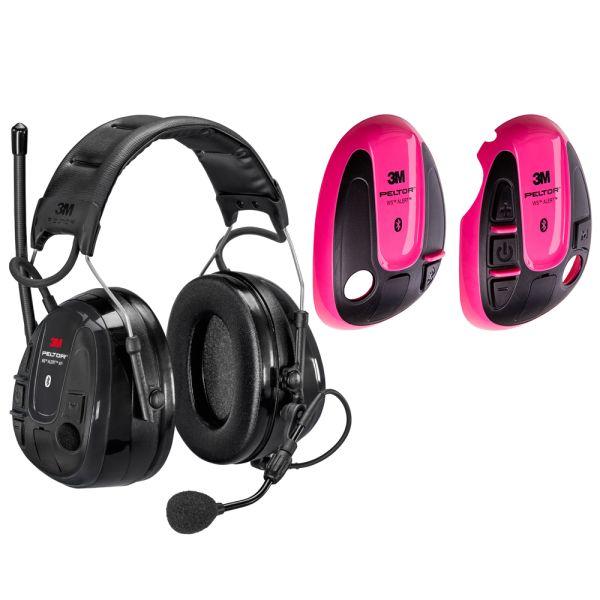 Hörselskydd 3M Peltor WS Alert XP med rosa skal, Bluetooth med hjässbygel