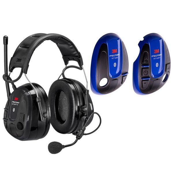 Hörselskydd 3M Peltor WS Alert XP med blå skal, Bluetooth med hjässbygel