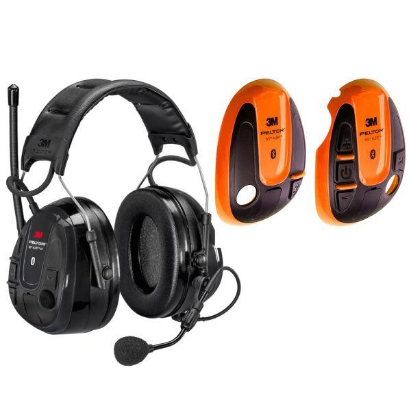 Hörselskydd 3M Peltor WS Alert XP med orange skal, Bluetooth med hjässbygel