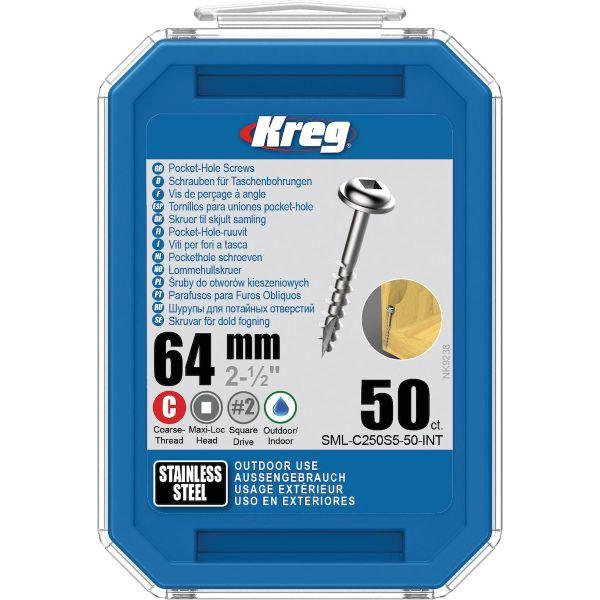 Skruv Kreg SML-C250S5-50-INT 64 mm Ø, rostfri, Maxi-Loc 50-pack