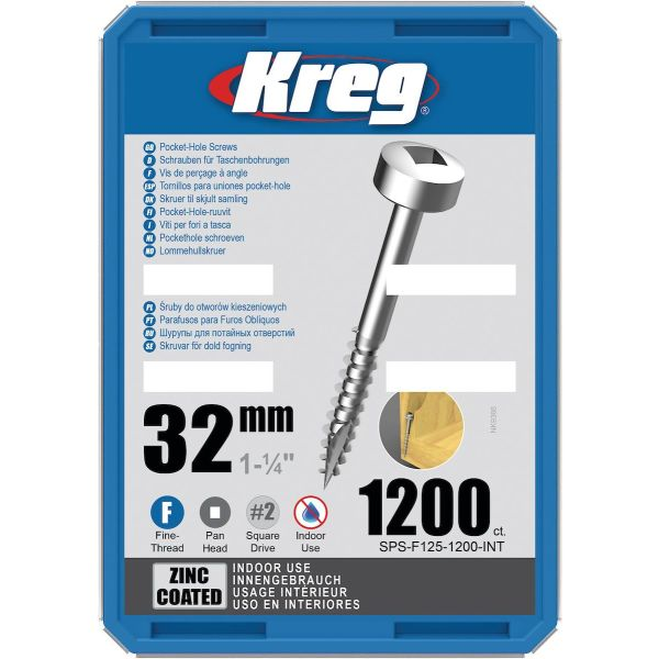 Skruv Kreg SPS-F125-1200-INT 32 mm Ø, förzinkad, Pan Head 1200-pack